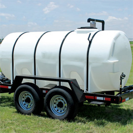 side of the 1,000 gallon water tank trailer